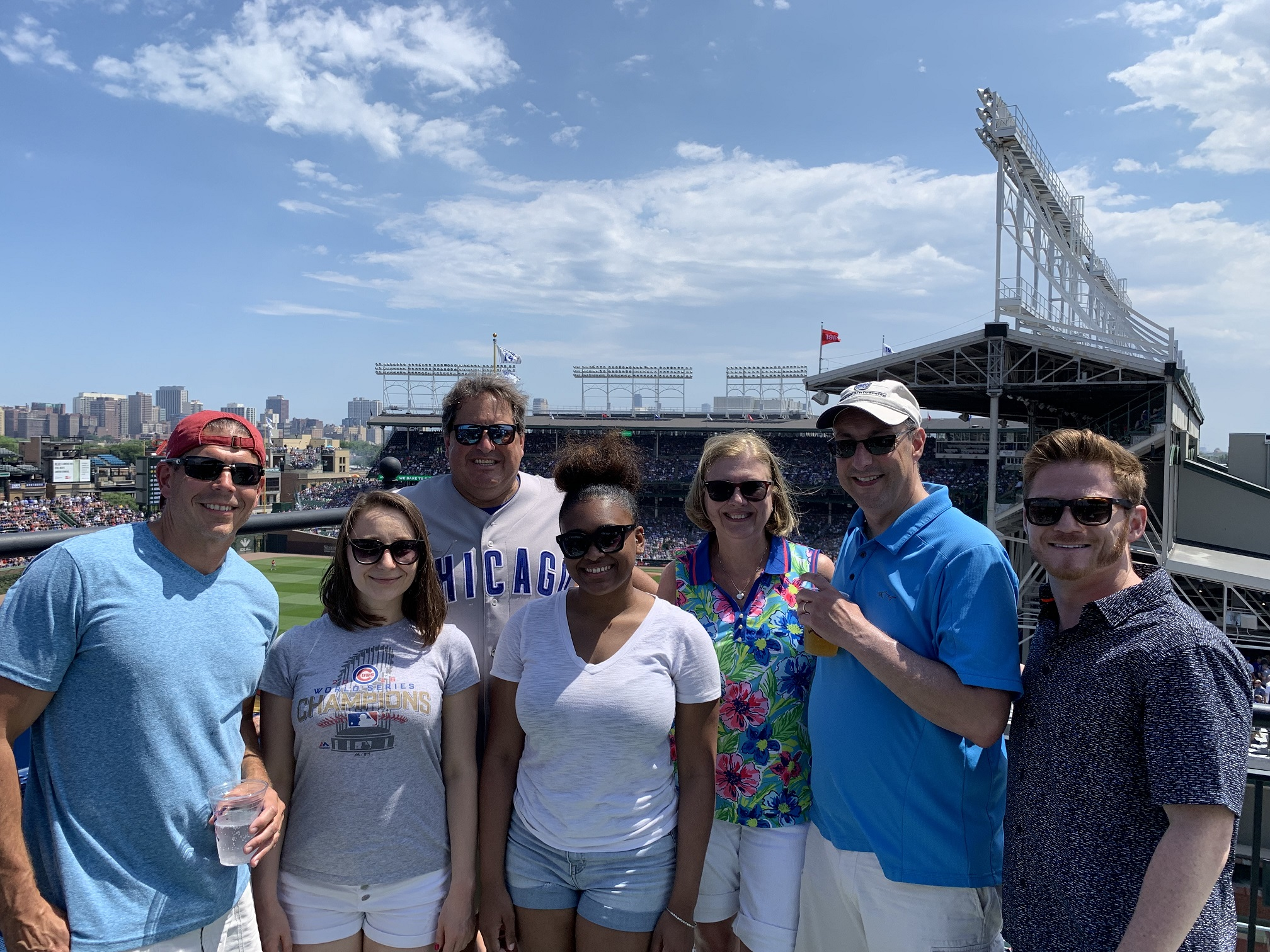 IMC enjoyed a beautiful day at Wrigley Field, watching the Cubs play during a 2019 summer group outing.