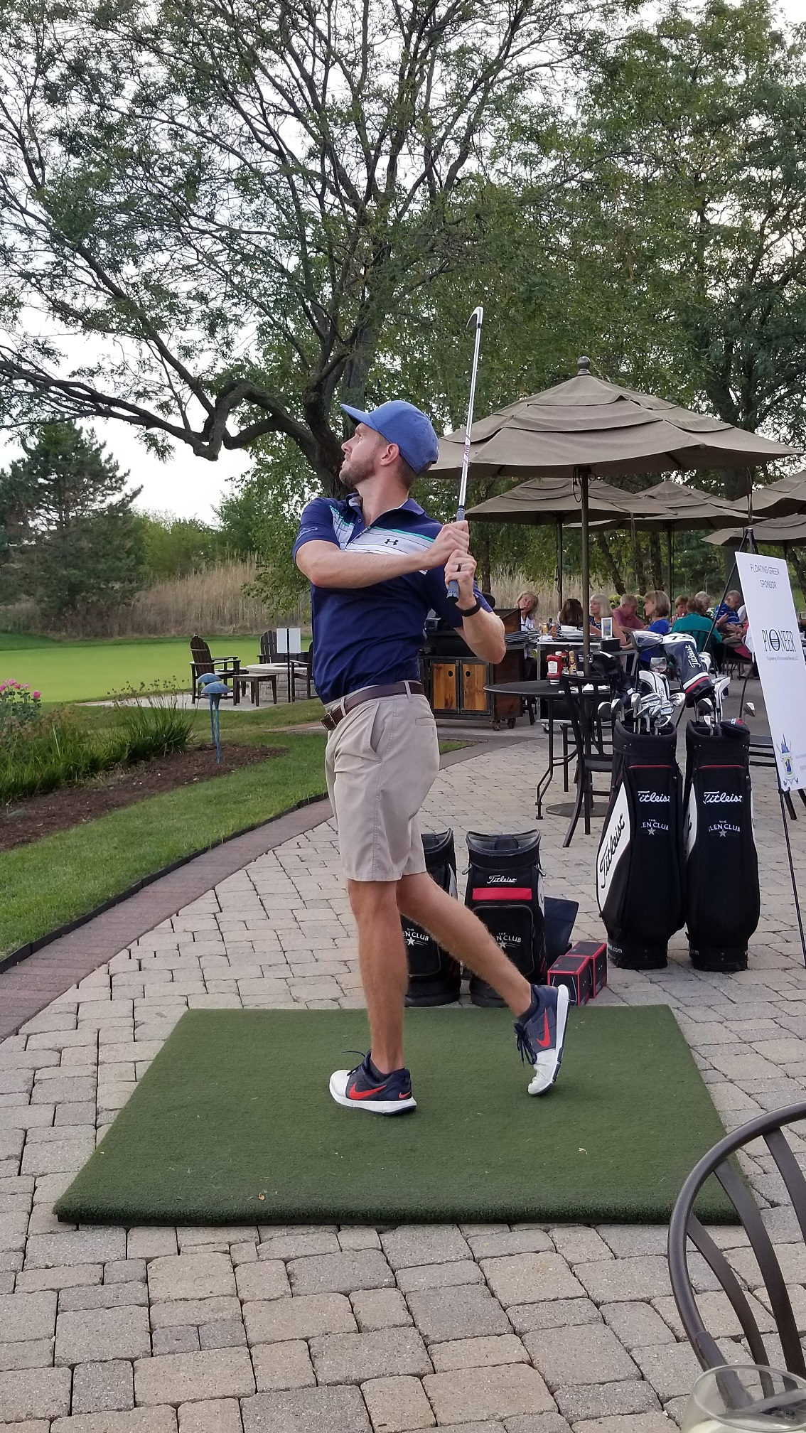 Jeff Gurrister practices his swing during the 4th Annual Real Estate to the Rescue Golf Outing charity tournament, for the Save-A-Pet Foundation.
